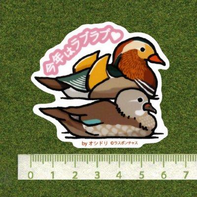 画像2: 【野鳥生活】防水UVステッカー「今年はラブラブ」送料180円