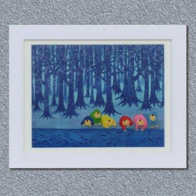 画像1: 額装原画「青い森およぐ」送料無料