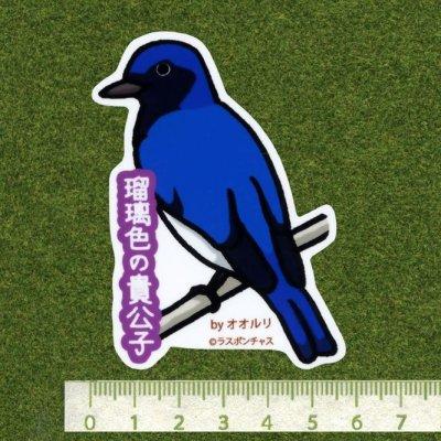 画像2: 【野鳥生活】防水UVステッカー「瑠璃色の貴公子」送料180円