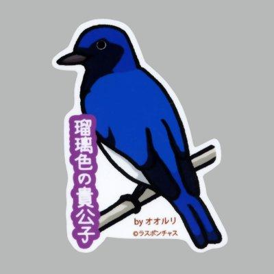 画像1: 【野鳥生活】防水UVステッカー「瑠璃色の貴公子」送料180円