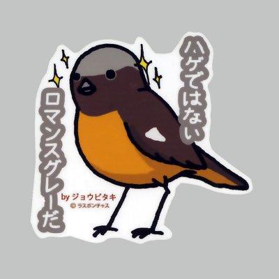 画像1: 【野鳥生活】防水UVステッカー「ハゲではない ロマンスグレーだ」送料180円